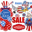 Happy 4th of july vector set banners and designs — Stock Vector