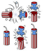 Various firecrackers - 4th of july vector illustration — Stock Vector