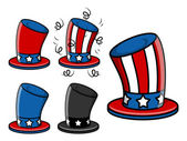 Uncle sam hat set - 4th of july vector illustration — Stock Vector