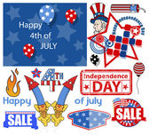 USA Freedom - 4th of July - Vector Designs Set — Stock Vector