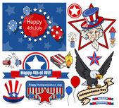 Happy 4th of July - Vector Designs Set — Stock Vector