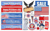 Various USA Patriotic Designs Vector Set — Vettoriale Stock