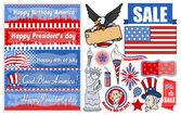 Various USA Patriotic Designs Vector Set — Stock Vector