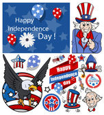 Happy independence day vector set — Stock Vector