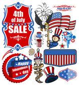 American freedom celebration vector set — Stock Vector