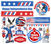 American Independence day vector designs set — Stock Vector