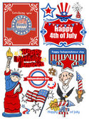Icons and vector set of various America celebration — Stock Vector