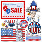 Pack of 4th of july vector set — Stock Vector