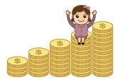 Wealth - Earn Money Concept - Business Cartoons Vectors — Stock Vector