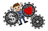 Love & Money Concept - Burden - Business Cartoons Vectors — Stock Vector