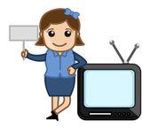 Cartoon TV with Retro Woman - Business Cartoons Vectors — Stock Vector