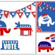 Stock Vector: USVoting Day Symbol Vector Graphics Set