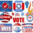 Happy Election Day Vector Illustration Set — Stock Vector