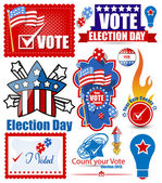 Election Day Festival Vector Graphics Set — Stock Vector