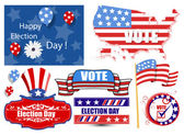 America Election Day Vector Illustration Set — Vector de stock