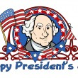 Showing George Washington on - Presidents Day Vector Illustration — Stock Vector