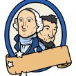 Lincoln and Washington Together Vector Design with a Blank Old Scroll Banner — Imagen vectorial