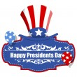 Happy Presidents Day Badge with Uncle Sam Hat - USA Theme — Stock Vector