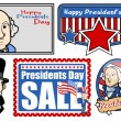 Presidents Day USA National Theme Vector Set — Stock Vector