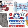 Happy Presidents Day USA National Theme Vector Set — Stock Vector