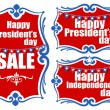 United States National Holidays - Presidents Day - Independence Day Vector Set — Stock Vector