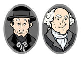 Illustrated Vector Portrait of George Washington and Abraham Lincoln — Stock Vector