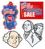 USA Nation - Patriotic - Holiday Presidents Day Vector Set — Stock Vector