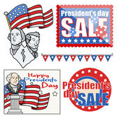 USA Nation - Patriotic Theme - Holiday Presidents Day Vector Set — Stock Vector