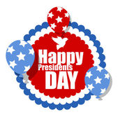 Happy Presidents Day Circular Poster Sticker with Floating Balloons — Stock Vector