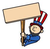 Cartoon Clip-Art - Lincoln Holding a Blank Board — Stock Vector
