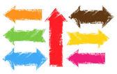 Grunge Edges Colorful Banner Arrow Vectors — Stock Vector