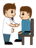 Doctor Checking Up Patient - Medical Cartoon Vector Character — Stock Vector