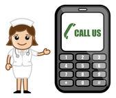 Call Us - Help Line Concept - Medical Cartoon Vector Character — Stock Vector