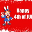 Happy 4th of July Vector Background including uncle Sam — 图库矢量图片