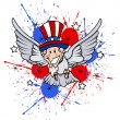 Funny uncle sam as  a bird - 4th of July Vector theme Design — Stock Vector