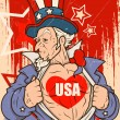 Uncle Sam - USA Love - Vector Portrait — Stock Vector