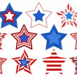 Stars vector set for Patriotic USA theme — Stock Vector