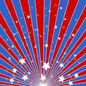 Sunburst background - American themed Independence Day Vector Design — Stock Vector