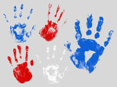 Hand prints set - Patriotic USA theme Vector — Vector de stock