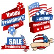 Decorative Modern United States National Holidays - Presidents Day Vector Set — Stock Vector