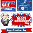 Festive Patriotic Theme Designs - Presidents Day Vector Set — Stock Vector #31550095