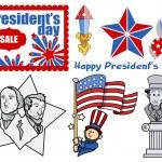 Presidents Day USA Theme Vector Set — Stock Vector
