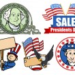 Presidents Day USA 4th of July Theme Vector Set — Stock Vector #31550557