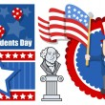 Presidents Day USA National Theme Vector Set — Stock Vector