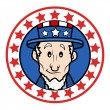 Patriotic USA Theme Circular Design with Abraham Lincoln Wearing Uncle Sam Hat Vector — Stock Vector