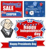 节日为爱国主题设计-总统一天向量设置 — 图库矢量图片