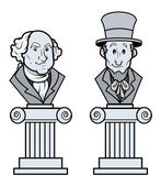 Sculpture of Abraham Lincoln and George Washington Vector Clip-Art — Stock Vector