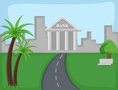 Bank - Cartoon Background Vector — Stock Vector