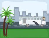 Autobus - kreskówka tło wektor — Wektor stockowy