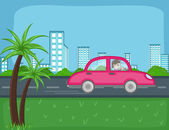 Travel by car - Cartoon Background Vector — Stock Vector